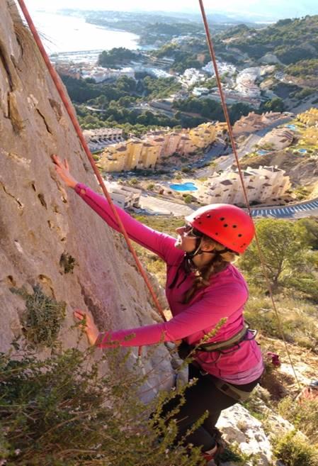 Emily climbing in Spain